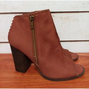 Lucky Brand Open Toe  Learher Booties 9.5